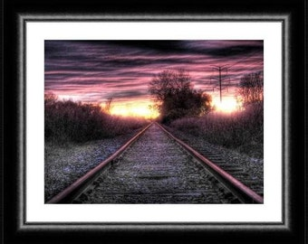 Pantone Rose quartz home decor railroad train sunset photo