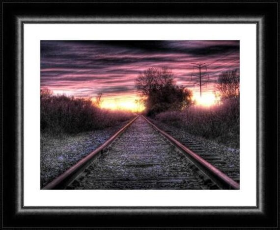 Pantone Rose quartz home decor railroad train sunset photo