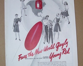 1942 New Cutex Young Red Nail Polish Advertisement, Magazine Print, Face The New World, Young Red, Nails in the New, The Great Gatsy, NY