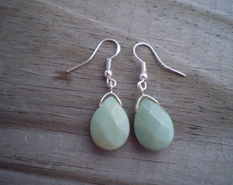 Faceted Amazonite French Hook Earrings