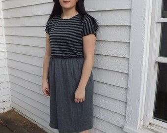 Gray Striped Dress Casual Soft Grey Black Vintage 16 L XL Plus