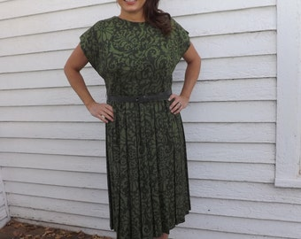 Vintage 50s Green Print Dress Sleeveless 40 Bust L St Patricks
