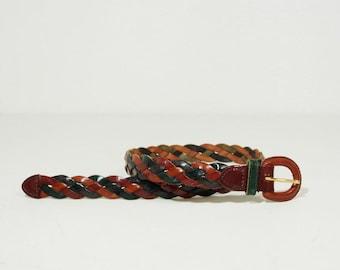 Vintage Woven Leather Brown Multicolor Belt