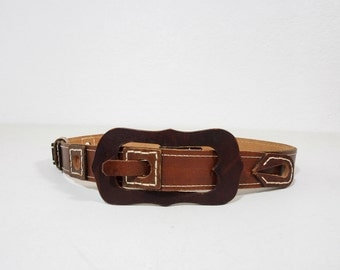 Vintage Brown Leather Belt with Large Statement Buckle