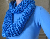 Berry blue crocheted infinity scarf