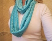 Aqua Minky Snuggle Bubble Blanket Soft Infinity Scarf - faux fur fleece snuggly scarf