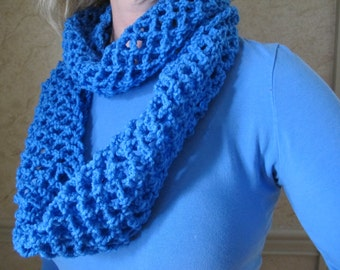Infinity Scarf Cowl Berry blue crocheted infinity scarf