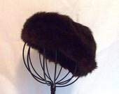 SALE 1950s Vintage Ladies Genuine Rabbit Fur Hat in Rich Dark Chocolate Brown Almost Black in Color.