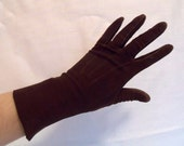 Dark Chocolate Brown Suede Dress Gloves. Vintage 1950s. Size 6 Extra Small to Small. Forearm Length. By Glover's Guild.