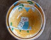 Set of Two, Nesting Bowls, Owl Bowl