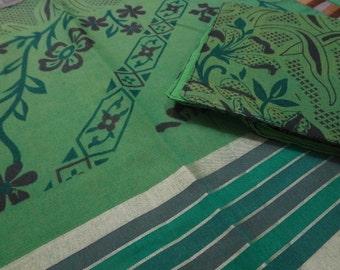 Natural Tree Green Indian Cotton Placemat and Napkin Set for Six - Udaipur F510