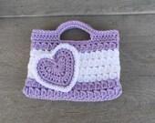 Purple Valentines Purse Kids Crochet Purse