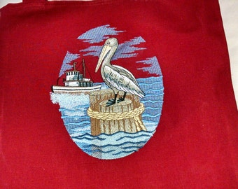 Red Tote with Pelican Embroidery