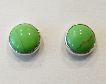 Sterling Silver Studs With 8mm Gaspeite