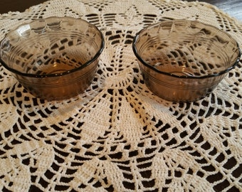 "Two Vintage Pyrex Custard Cups - ""Fireside"" Brown"