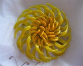 Vintage Yellow Orange Enamel Flower Brooch 1960s