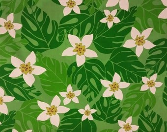 Tropical Print in Lime Green (Yardage Available)