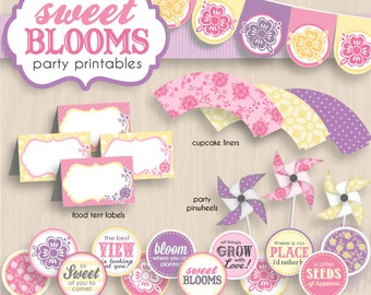 SWEET BLOOMS Birthday Party Printable Package in Pink, Cream Yellow, and light Lavender Purple- Instant Editable Download