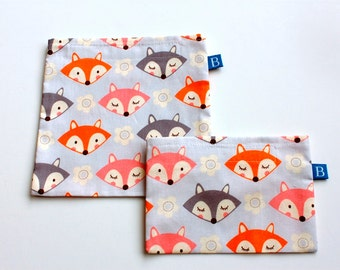 Reuseable Eco-Friendly Set of Snack and Sandwich Bags in Gray Fox Fabric