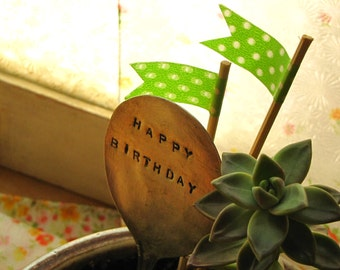 Hand Stamped Happy Birthday Vintage Silver Spoon Marker