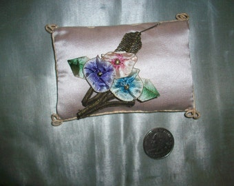 Lovely ribbon work flowers in ombre metal edge ribbon with metal work authentic 1910s to 20s