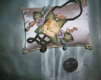 1 Antique ribbon work rose and other flowers in basket of metal, authentic 1910s
