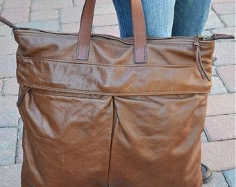 WALKER STREET Original design, Hand made, Mens leather tote, Brown leather tote, Mens brown leather bag, Womans brown leather tote bag
