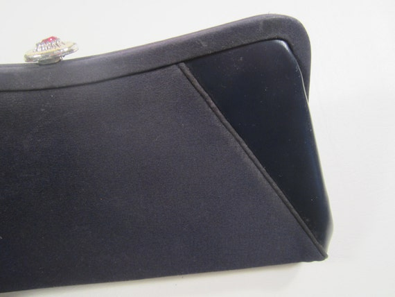 Vintage Navy Blue Clutch Handbag with Coin Purse Fabric and Vinyl