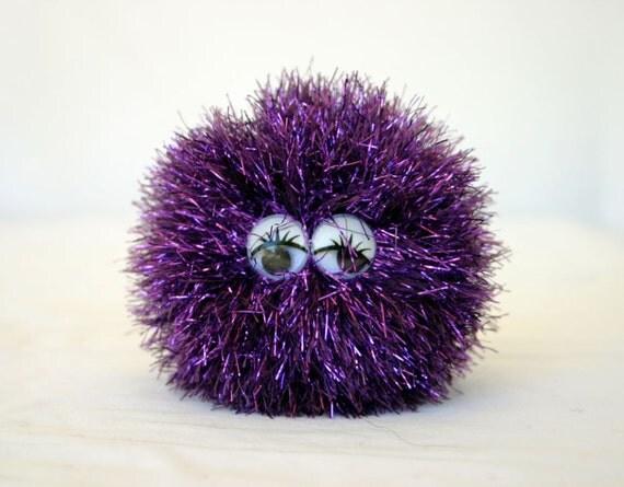 Stuffed toy purple wiggle eyes crochet puff ball metalic