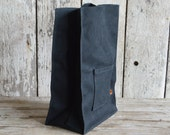 Marlowe Lunch Bag in Coal, Waxed Canvas Lunch Tote, Waxed Canvas Lunch Bag, Eco-friendly, Waxed Canvas Bag, Waxed Canvas Lunch Bag, Lunch