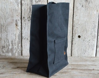 Marlowe Lunch Bag in Black Coal, Waxed Canvas Lunch Tote, Lunch Bag, Eco-friendly, Gift for Husband, Gift for Wife, Birthday Gift, Under 50