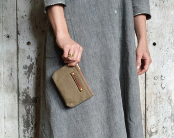 Small Waxed Canvas Pouch: Tumbleweed by Peg and Awl