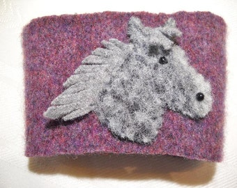 Grey Horse Cup Cozy Felted Wool