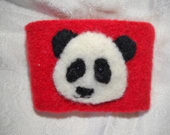 Panda felted Wool Coffee Cozy