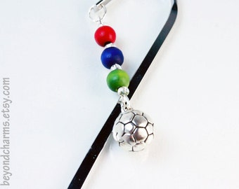 Sale  Bookmarks Silver Bookmark. Soccer Bookmark. Sports Theme Metal Bookmark. Soccer Ball Charm. LBK006