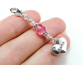 Nana Charm. Pink Beaded Charm for Nana. Mothers Day Charm for Nana. BKC030