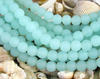 "8"" 24pcs SEAFOAM BLUE 8mm opaque sea beach glass Round Beads frosted recycled"