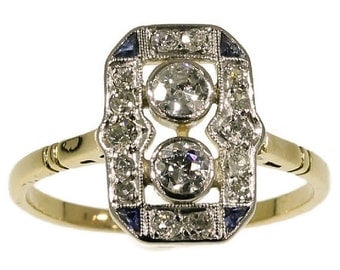On Hold for Will - Art Deco Engagement Ring Diamonds Sapphires Yellow Gold ref.14197-0064