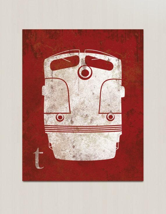Train Nursery Decor - Vintage Train Engine Print - Childs Room Nursery Wall Art - Clearance