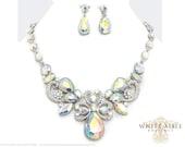 Aurora Borealis Bridal Statement Necklace Set, Wedding Jewelry Set, Vintage Inspired Necklace, Rhinestone Necklace, Bridal Necklace