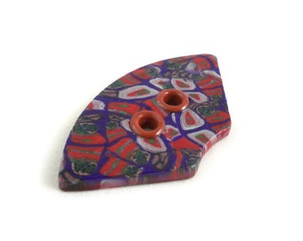 Fan shaped button large polymer clay with grommets