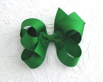 Fancy Green Hair Bow, Christmas Hair Bow, Emerald Green Boutique Bow, Toddler Hair Bow Clip, Girls Hair Accessories