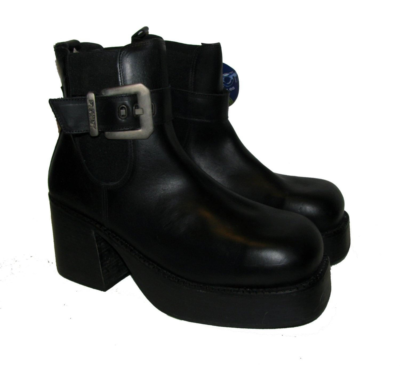 vintage mens platform boots black leather destroy ankle high