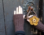 Fingerless gloves, Flower mittens in chocolate brown