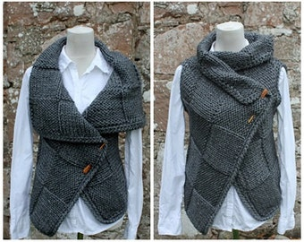 Grey knit jacket, sleeveless wrap, cardigan, knitwear clothing, big square jacket - MADE TO ORDER