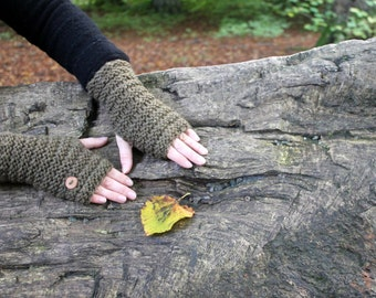 FINGERLESS GLOVES, knitted mittens in green/brown, wooly gloves, fingerless arm warmers, knitwear UK, gift ideas