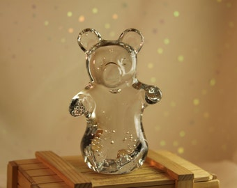 Crystal Bubble Glass Bear Vintage figurine Nature Forest Animal Teddy Bear