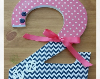 Baby Girl, Wooden Letters, Wood Numbers, Girls Nautical Nursery, Hot Pink and Navy,  Anchor, Sailor, Chevron, Dots, Birthday, Photo Prop