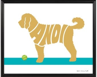 Personalized Goldendoodle Print, Framed Dog Silhouette Name Art, Goldendoodle Gift, Golden Decor