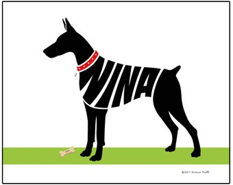 Personalized Doberman Pinscher Silhouette Art Print, Natural, Cropped or Docked Ears and Tail, Dog Memorial Gift